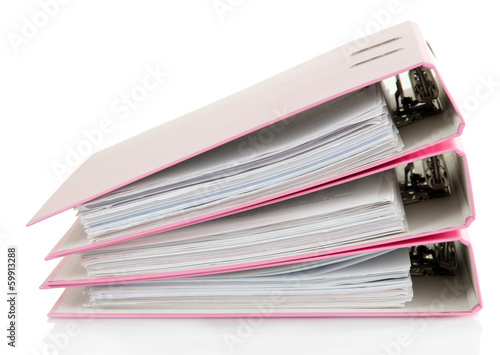 Pink folders, isolated on white