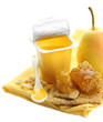 Tasty desserts in open plastic cups and honey combs, fruits,