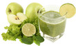 Glass of green vegetable juice with apple and lime isolated