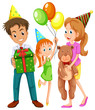 A happy family celebrating a birthday