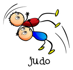 Stickmen doing judo