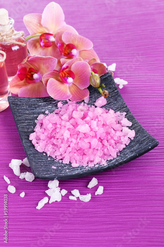 Spa treatments on color background
