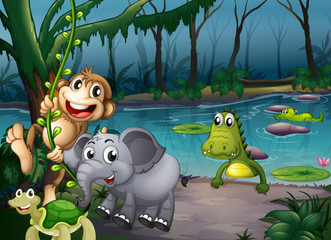 Animals playing at the forest near the pond with crocodiles