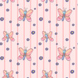 A seamless design with flowers and butterflies