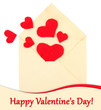 Beautiful old envelope with decorative hearts, isolated on