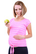 Young pregnant woman holding green apple isolated on white