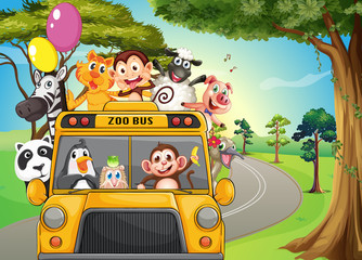 A bus full of zoo animals