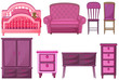 Furnitures in pink color