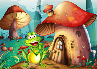 A frog near the mushroom house