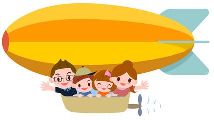 飛行船に乗る家族