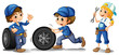Two male mechanics and a female mechanic