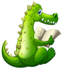 A crocodile reading