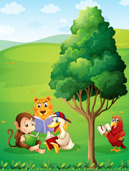 Animals reading under the tree at the hilltop
