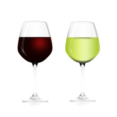 red wine with white wine glass and bright content illustration