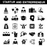 entrepreneur icons set, start up business poster