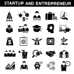 entrepreneur icons set, start up business