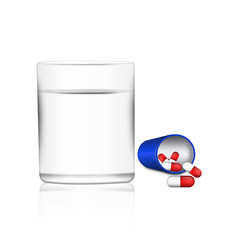 Medical capsule with water glass illustration , isolated on whit