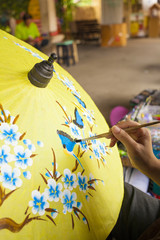 umbrella painting, Thai style paper umbrella flower painting