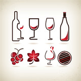 wine icons set