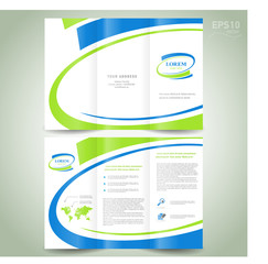 brochure design template folder leaflet green blue line element