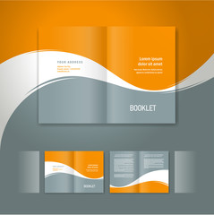 booklet design template white curve line orange grey