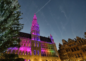 Christmas illumination of Grand Place in Brussels