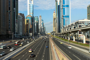 Sheikh Zayed Road in Dubai, UAE.