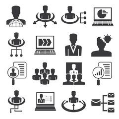business management icons set, human resource icons