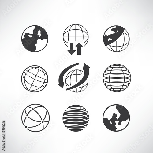 world globe icons set, global concept