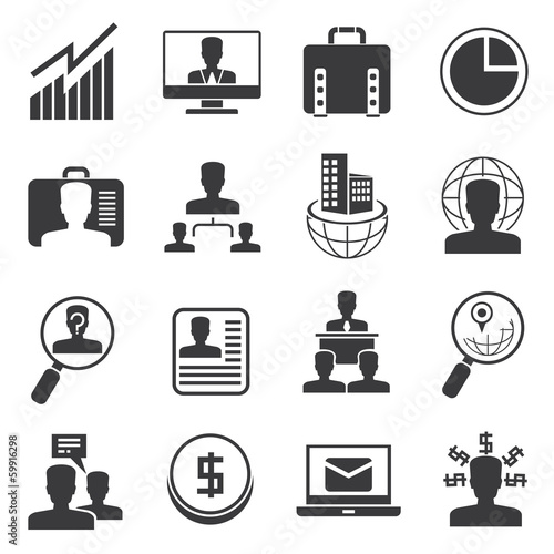 office icons set, organization management icons