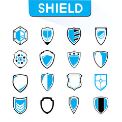 shield icons set, blue theme icons