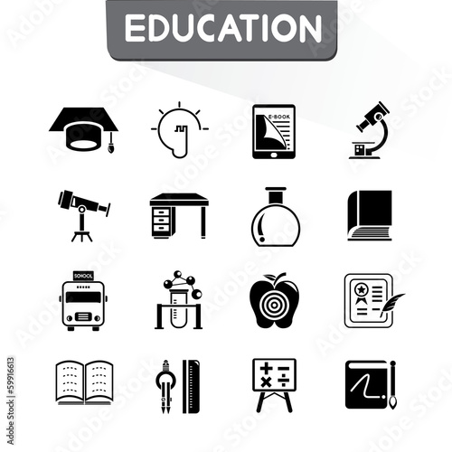 education icons set, vector set