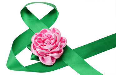 Green satiny tape combined in figure eight and an artificial flo