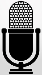 Retro microphone icon, vector illustration