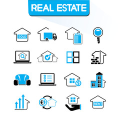 real estate icons, blue color theme