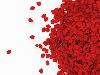 Heap of Red Rose Petals isolated on white background