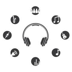 music, round buttons