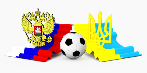 russia and ukraine coat of arm with football ball