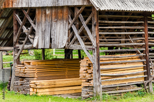Typical old barn (double hayracks) in Slovenia