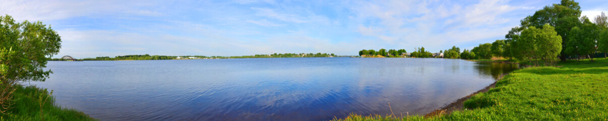 Panoramic view of Rybinsk Reservoir in Kalyazin city, Russia