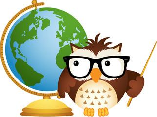 Owl Teacher with Globe
