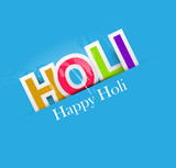 Stylish for colorful happy holi text design vector background