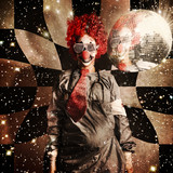 Crazy dancing disco clown on a psychedelic trip