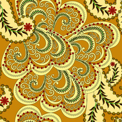 seamless pattern with small flowers and pale yellow curls