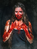 a scary bloody horror girl