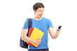 Excited male student looking at his phone