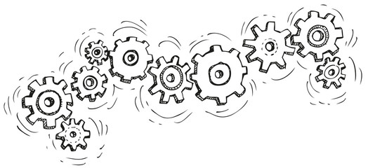 Vector cartoon gear wheels