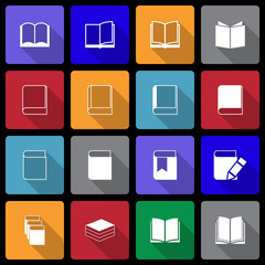 Book Icon set wiht  Long Shadow