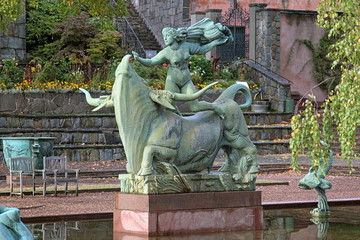 Europe and the Bull Fountain in Millesgarden sculpture garden