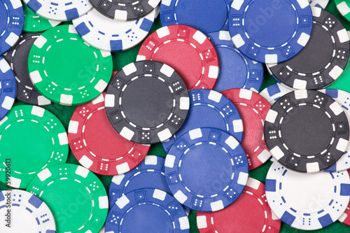 close up of colorful poker playing chips